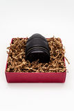 Zoom de la cámara en caja de regalo Imagen de archivo