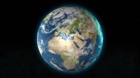 Zoom del pianeta Terra fuori da Gerusalemme, montagna del tempio, Israele a spazio cosmico