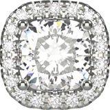 Zoom der Illustration 3D lokalisierte Goldsilbernen Ring mit Diamanten Lizenzfreie Stockfotos