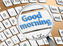 Zoom des gutenmorgens auf Tastatur Stockfotos