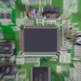 Zoom effect on microchip. Royalty Free Stock Images