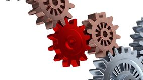Zoom effect on One Red Gear with Some Silver Gears Turning. On white background stock footage