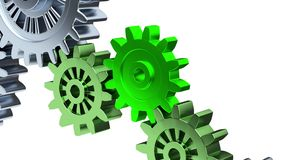 Zoom effect on Three Green Gear with Some Gray Gears in Rotation. On a white background stock illustration