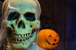 Zoom of Face Skull on  Halloween Royalty Free Stock Photography