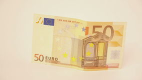 Zoom on fifty euro banknote stock video footage