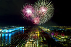 Zoom in with fireworks Royalty Free Stock Photo