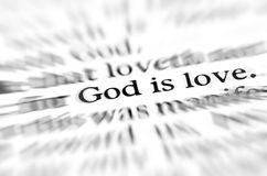 Zoom God is Love Scripture in Bible Royalty Free Stock Photography