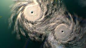 Zoom heraus von zwei Hurrikanen, CG-Animation stock abbildung