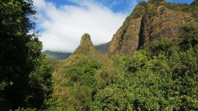Zoom in on iao needle. A zoom in shot of maui`s historic iao needle in hawaii stock video