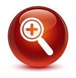 Zoom in icon glassy brown round button Royalty Free Stock Photography