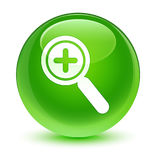 Zoom in icon glassy green round button Royalty Free Stock Photos