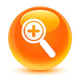 Zoom in icon glassy orange round button vector illustration