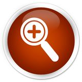Zoom in icon premium brown round button stock illustration