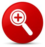 Zoom in icon red round button stock illustration