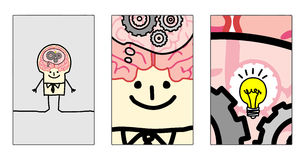 Zoom inside man's brain. Hand drawn cartoon characters - zoom inside man's brain stock illustration