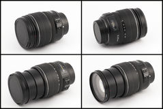 Zoom lens. 15-85mm zoom lens isolated on white background (four view stock photo