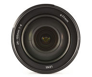 Zoom lens. Professional zoom lens 24-105mm on a white background, front view Stock Image