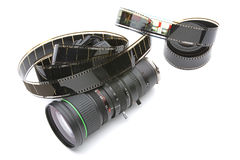 Zoom lens with 35mm film Stock Photos