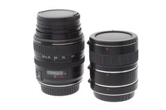 Zoom lens and extension tube Royalty Free Stock Images