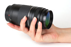 Zoom lens in hand Stock Image