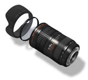 Zoom lens with hood and filter. Professional zoom lens with hood and filter isolated over white background Stock Image
