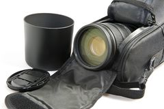 Zoom lens in its case Royalty Free Stock Photos