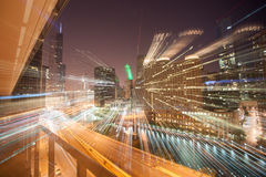 Zoom light streams architecture and cityscapes of  Chicago, Illi. Zoom light streams from city buildings at night accentuate the the density and skyline of Royalty Free Stock Photography