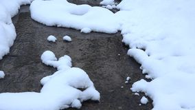 Zoom in of loose frosty stream at winter time. 4K stock footage