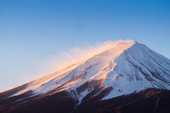 Zoom the morning mountain Fujisan of winter season Royalty Free Stock Photography