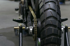Zoom motorcycle chain and sprocket in Car show event Royalty Free Stock Photos