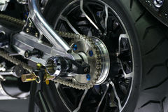 Zoom motorcycle chain and sprocket in Car show event Stock Image