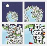 Zoom na kreskówek Światowych ludziach z flaga ilustracja wektor