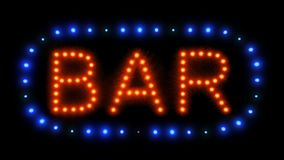 Zoom into neon bar sign. Zoom into neon red and blue bar sign with flashing lights stock video