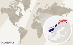 Zoom on Norway Map and Flag. World Map royalty free illustration