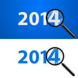 2014 with zoom. Numerals 2014 with magnifying glass in white and blue Royalty Free Illustration