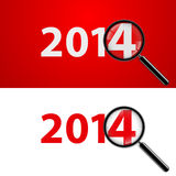 2014 with zoom. Numerals 2014 with magnifying glass in white and red Stock Illustration