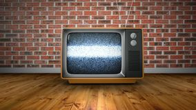 Zoom into old retro TV with no signal against red brick wall background. Zoom into old retro TV with no signal noise fuzz blur effect against red brick wall stock video