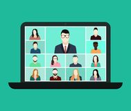 Free Zoom Online Conference In Laptop. Remote Education For Class Group. Virtual Talk In Team. Video Call Of Seminar With Teacher And Royalty Free Stock Image - 191075526