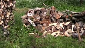 Zoom out of axe stuck to stump near to woodpile and  woodshed Royalty Free Stock Photo