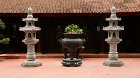 Zoom Out of Bonsai Tree Pot  - Tran Quoc Pagoda in Hanoi Vietnam stock video
