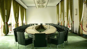 Zoom Out  - Cabinet Room - Independence Palace -  Ho Chi Minh City Vietnam. Former President Ngo Dinh Diem Residence during the Vietnam War stock footage