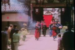 Zoom out celebration of royalty arriving in palanquin stock video footage