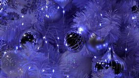 Zoom out of Christmas tree stock footage