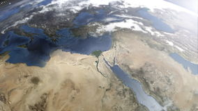 Zoom out from Giza Egypt to the universe. An animation of a zoom out from the Giza platform at Egypt. From the pyramids to the stars of the universe stock video