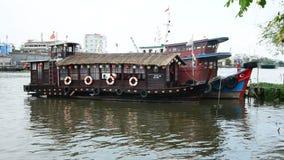 Zoom Out of House Boat on the Saigon River - Ho Chi Minh City (Saigon) stock video footage