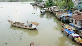Zoom Out of House Boats and Shacks on the Saigon River - Ho Chi Minh City (Saigon) stock video