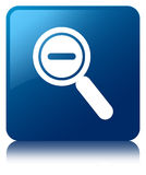 Zoom out icon blue square button Stock Images