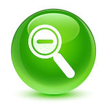Zoom out icon glassy green round button Stock Image
