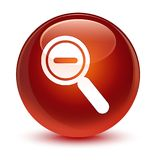 Zoom out icon glassy brown round button Royalty Free Stock Image