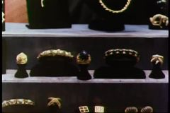 Zoom out jewelry store display stock video